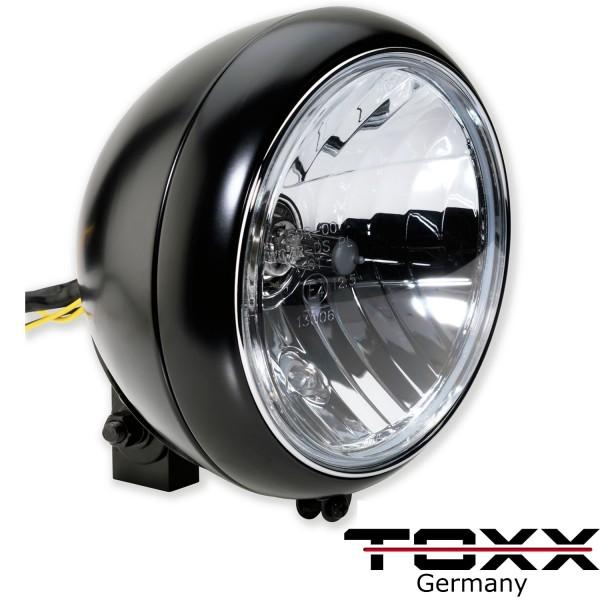 ToXx Motorrad Scheinwerfer Classic H4 Schwarz Klar 7 Zoll mit Halterung