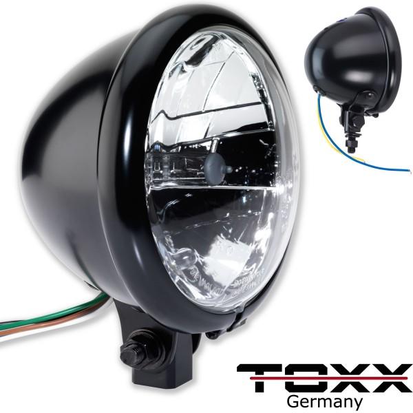 ToXx Motorrad Scheinwerfer Bates Style schwarz klar