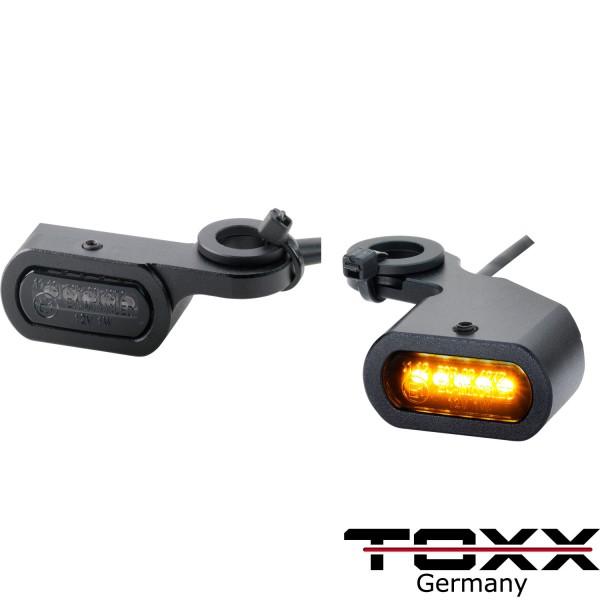 ToXx LED Armaturen Blinker für Harley schwarz getönt