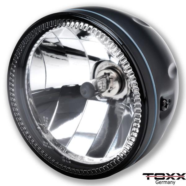ToXx LED Motorrad Scheinwerfer Skyline H4 Schwarz Klar Glas 5 3/4 Zoll ohne Halterung